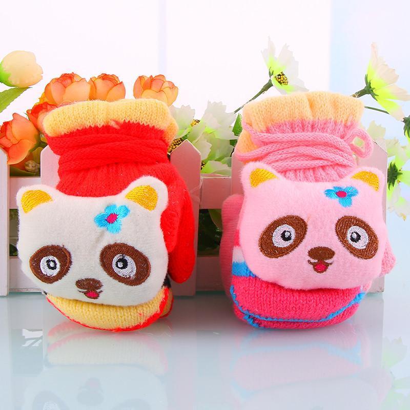 儿童秋冬彩虹色手套卡通小动物保暖宝宝小手套包指