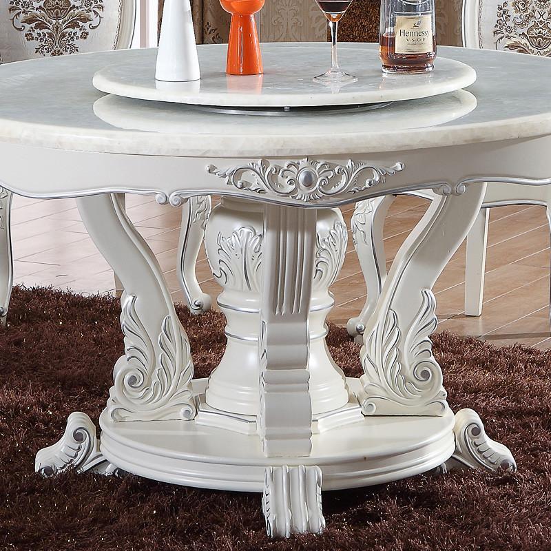 帝轩名典 欧式餐桌象牙白描银圆餐台 实木框架天然大理石餐桌 1.