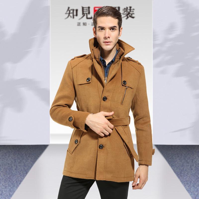 知见 男装新款毛呢大衣男士羊毛羊绒大衣风衣翻领英伦带腰带男风衣 40