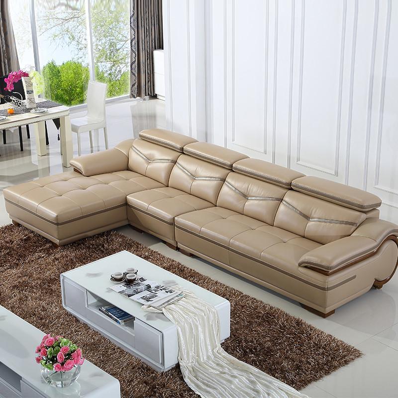 歌万 真皮沙发 组合 客厅沙发 简约欧式转角皮艺沙发 珠光茶色963