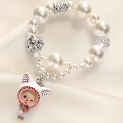 正品蒙奇奇/萌趣趣手链饰品女白水晶珍珠手串新年