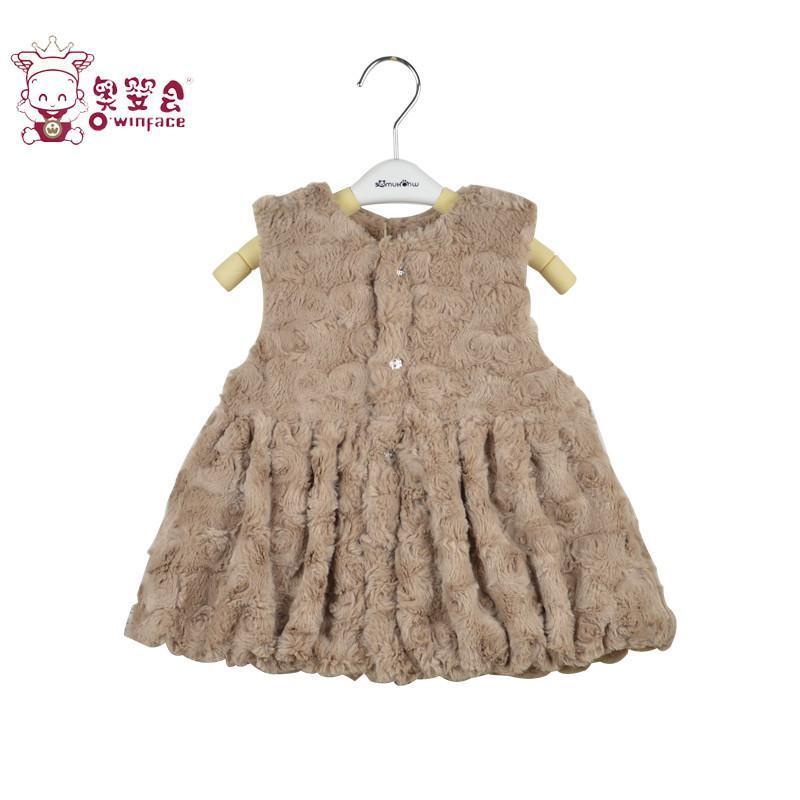 女宝宝加厚夹棉连衣裙婴儿外出服可爱时尚百搭背心裙