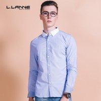 LLANNE潮牌男装男士长袖衬衫修身男衬衣英伦