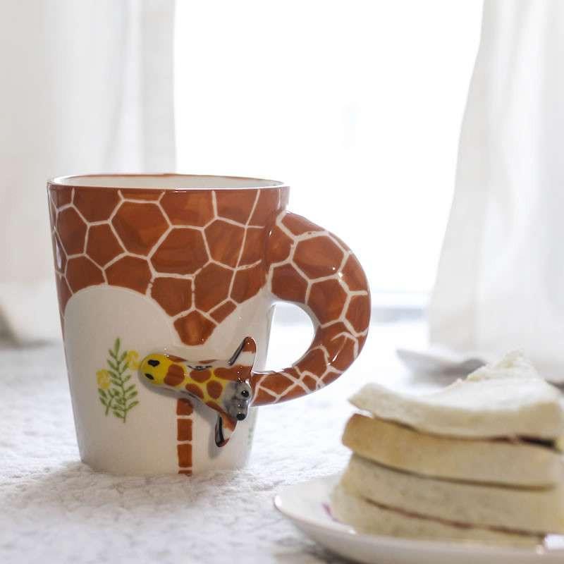 百工制器 3d立体纯手绘动物陶瓷马克杯奇妙的朋友同款创意杯子 白马