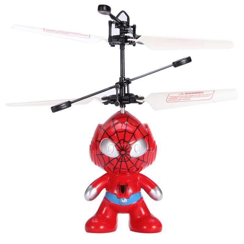 活石 儿童玩具飞天蜘蛛侠美国队长 充电遥控飞机感应悬浮直升机飞行器