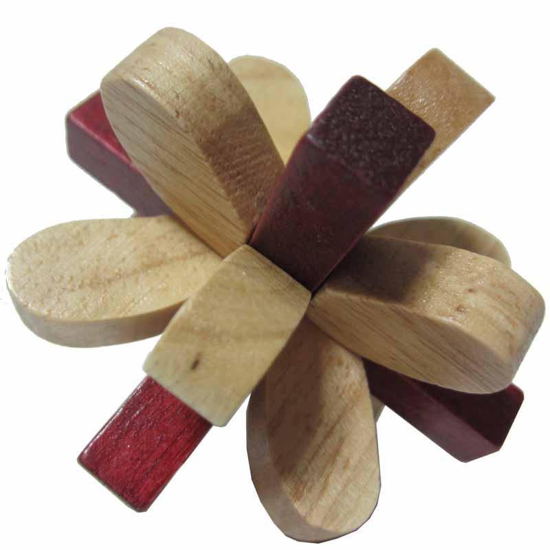木有人 木质孔明锁鲁班锁 益智玩具 丁香花