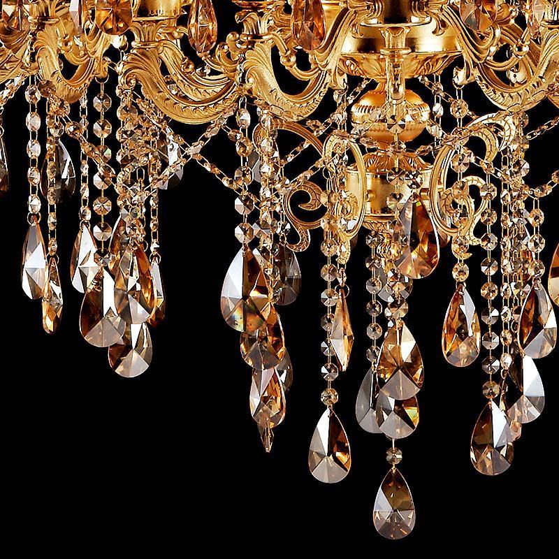 君御欧式客厅大吊灯金色锌合金水晶灯复式楼别墅水晶吊灯餐厅灯饰9809