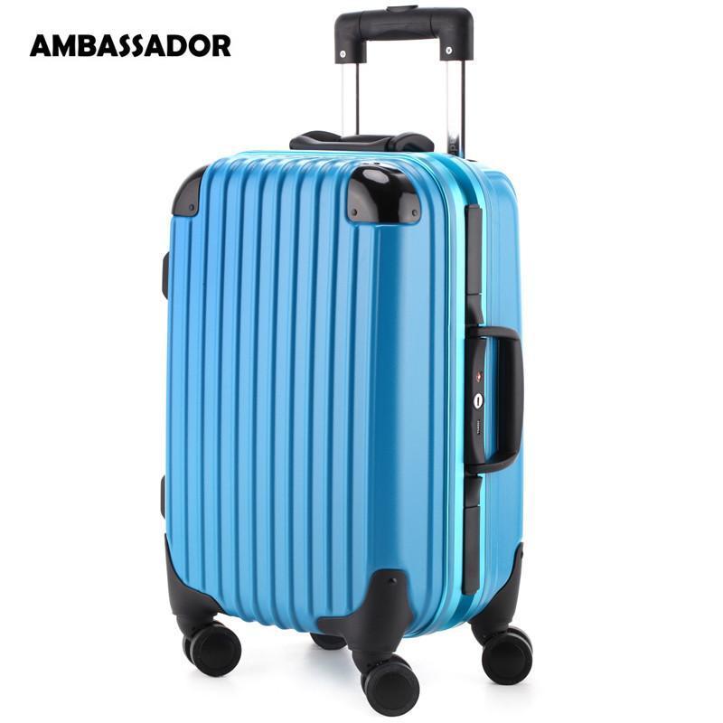 拉杆箱欧洲标准登机箱铝框男女行李箱包德国进口100%纯pc万向飞机轮海