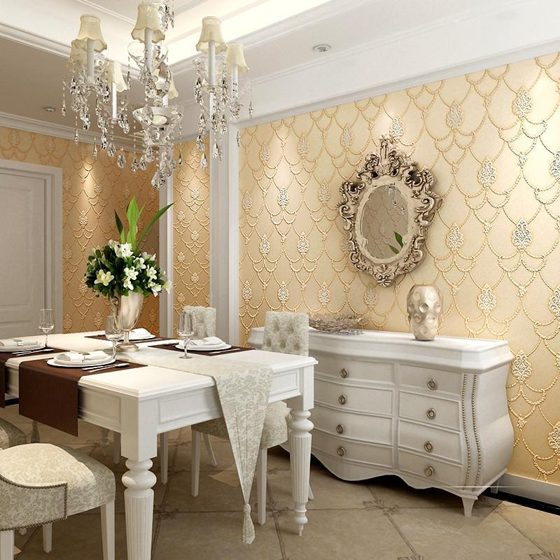 本木奢华欧式墙纸 卧室 3d立体无纺布简约客厅电视背景墙壁纸温馨图片