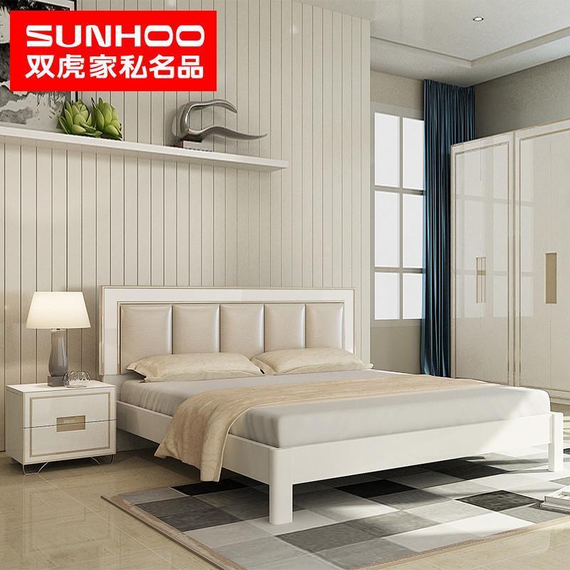 双虎家私 双人床 1.5/1.8米大床 软靠板式床 卧室家具