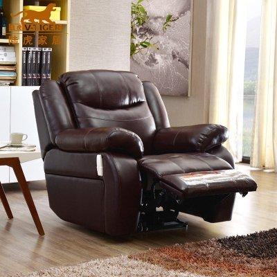 陆虎家具 新款欧式多功能皮艺沙发 豪华小户型单人沙发椅子 包邮 手动