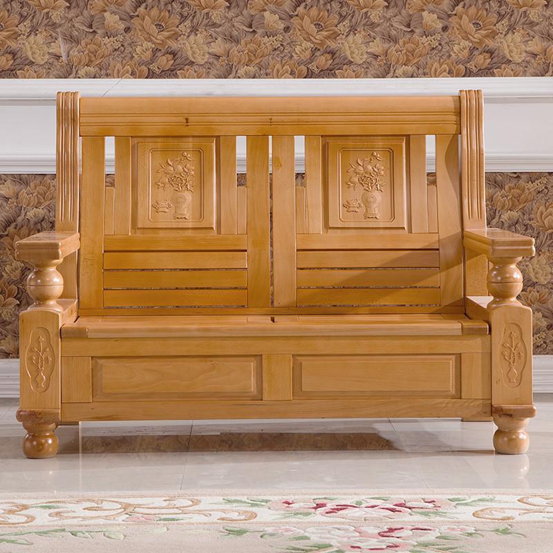 歌万 实木沙发组合 客厅榉木实木沙发 高档新中式沙发组合 原木色