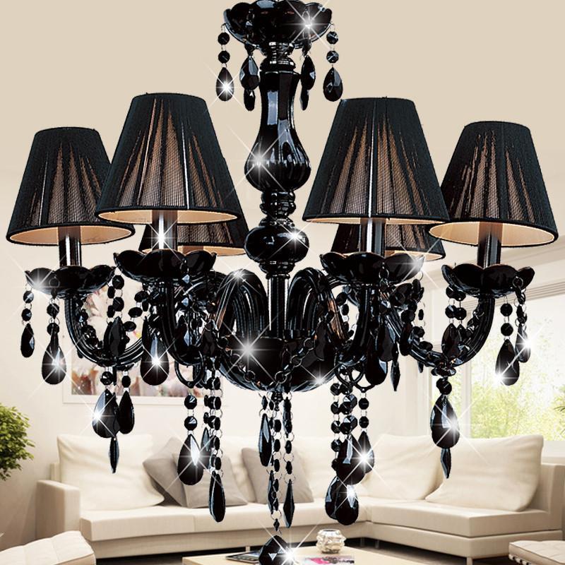 黑色水晶吊灯欧式蜡烛灯现代简约客厅餐厅卧室复古