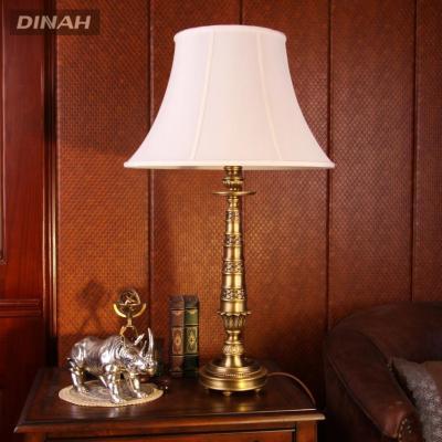 帝拿欧式中式复古布艺灯罩全纯铜台灯美式乡村全铜卧室书房床头雕花
