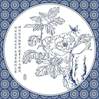 现代中式客厅装饰画 沙发背景墙挂画仿青花瓷壁画卧室无框画