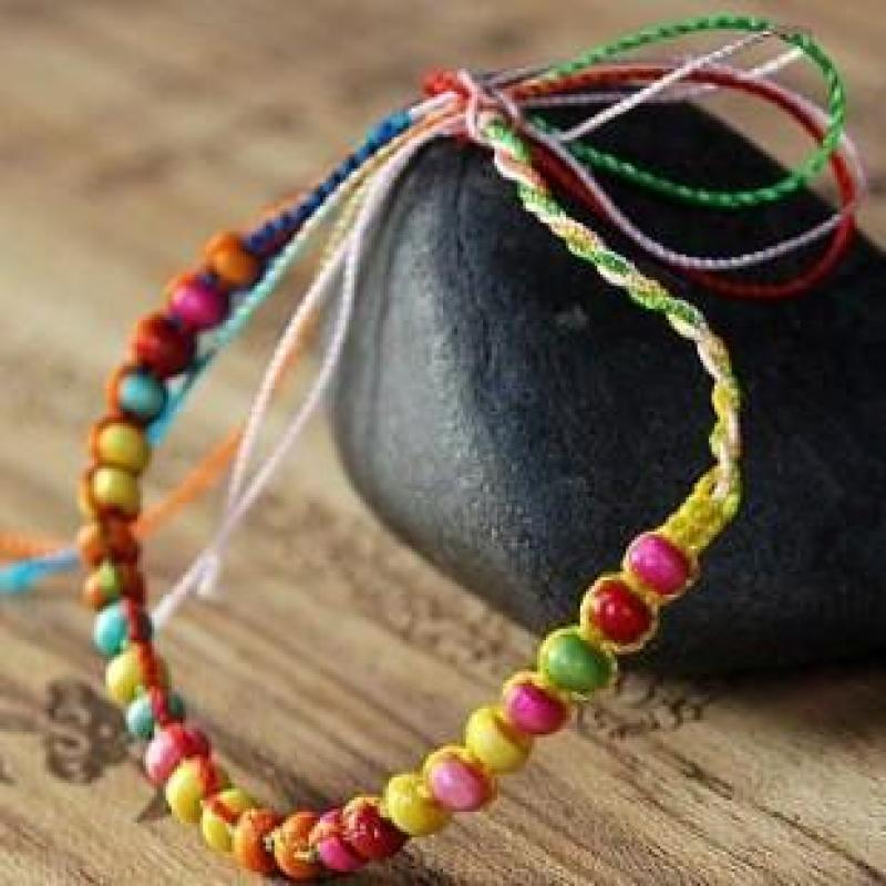 迈姿波西米亚混搭 小清新彩线编织七彩木珠手链(10条) 其他