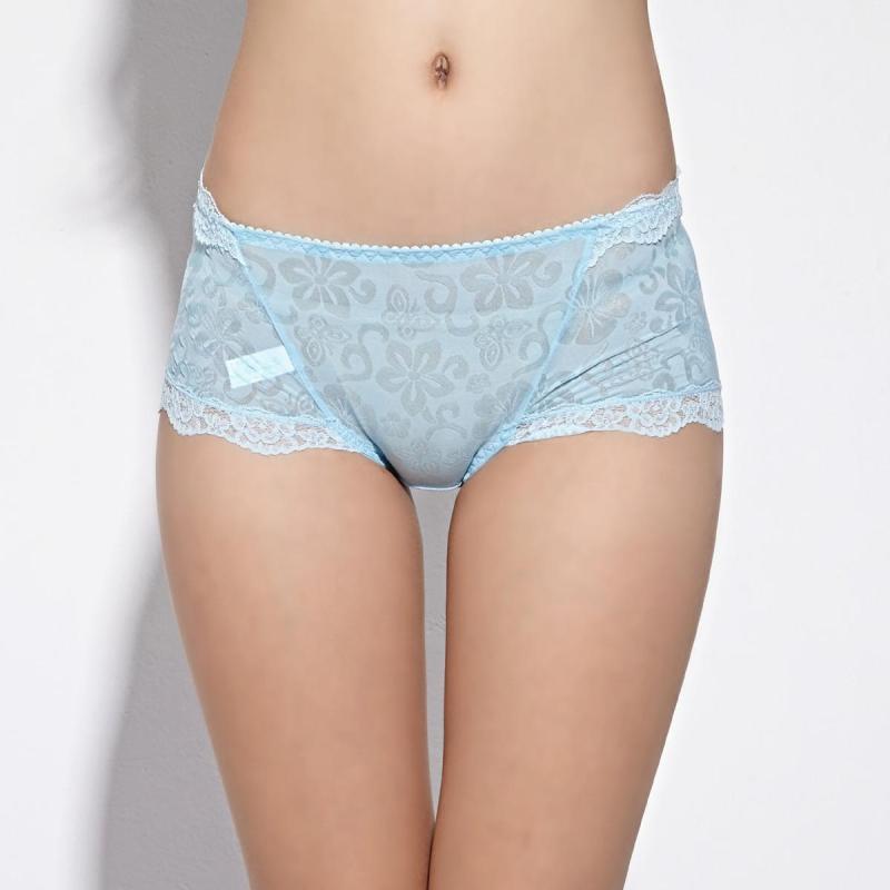女士内裤竹纤维透明性感蕾丝中腰女式内裤