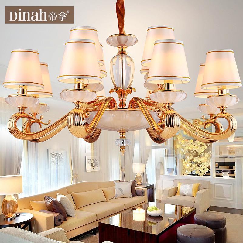 帝拿欧式纯铜水晶吊灯 后现代客厅餐厅灯装饰灯电镀全铜灯具灯饰