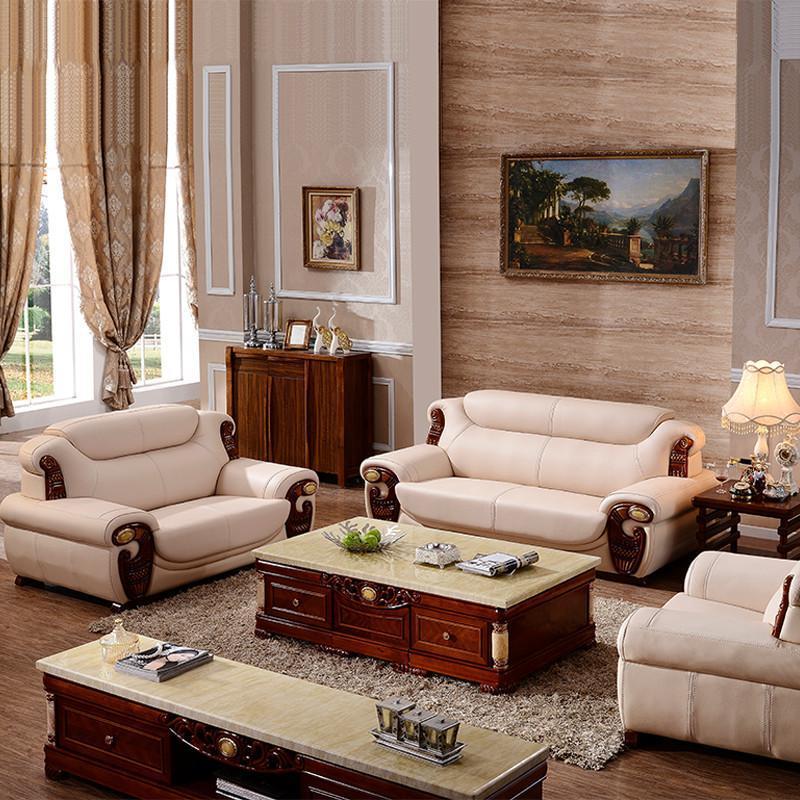 摩力克 欧式小户型客厅家具沙发组合 橡木实木雕刻皮艺 头层真皮沙皮