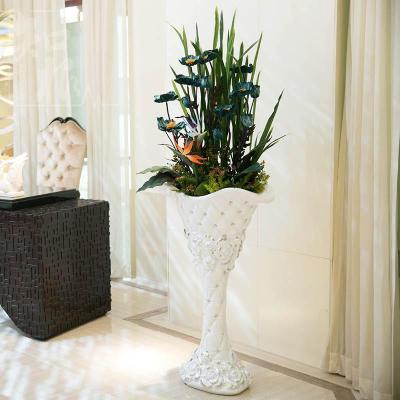 欧式罂粟大型落地 假仿真花套装客厅酒店大堂装饰花