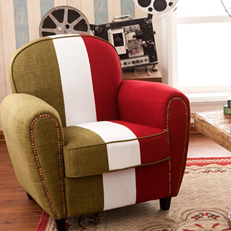 【韵奇沙发】韵奇 欧式复古单人沙发时尚咖啡厅沙发