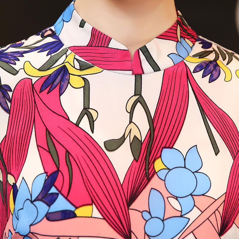2015春夏季高端欧美风连衣裙复古改良式旗袍时尚印花
