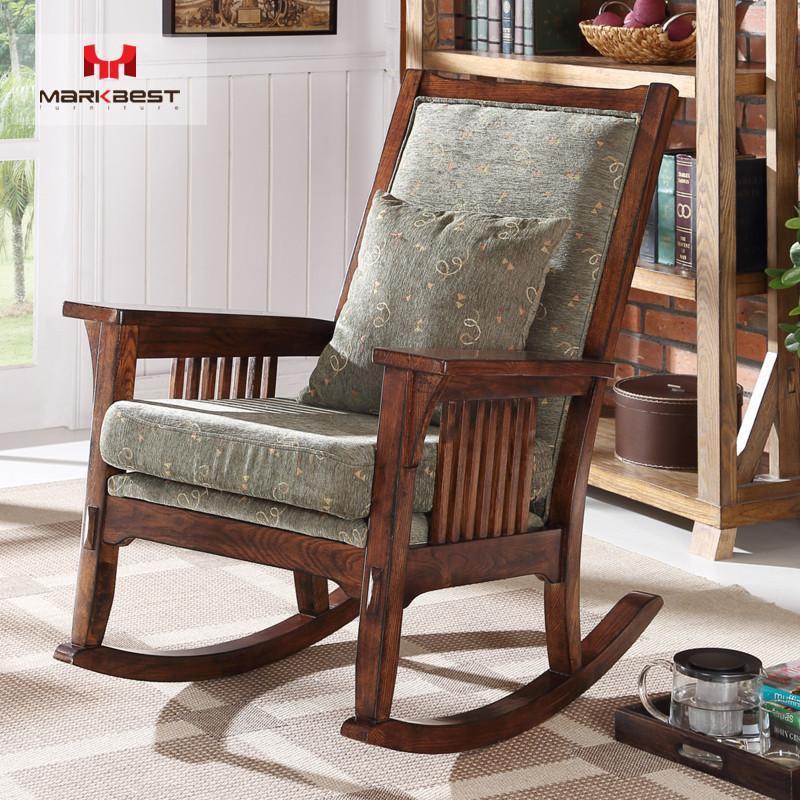 全实木沙发椅休闲椅美式实木摇椅简约复古做旧椅子