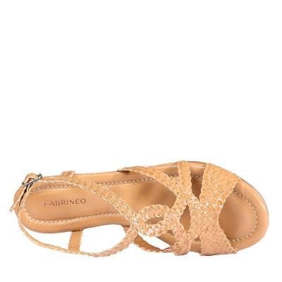 法蒂娜 2015夏新款手工编织羊皮女鞋高跟坡跟凉鞋露趾罗马女凉鞋fa006