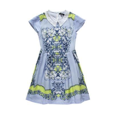 森马2015夏装新款连衣裙女装娃娃领中长款裙子女士雪纺连衣裙 蓝色调0