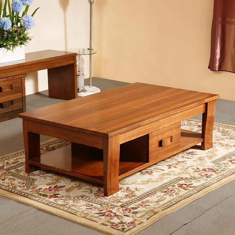 中式客厅茶几实木家具 现代中式客厅cj-2老榆木实木茶几 1.4米