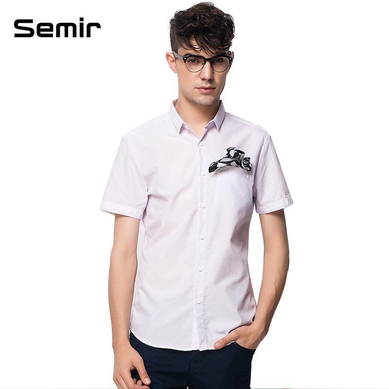 【森马(semir)男士衬衫】森马男装夏装新款短袖衬衫图片
