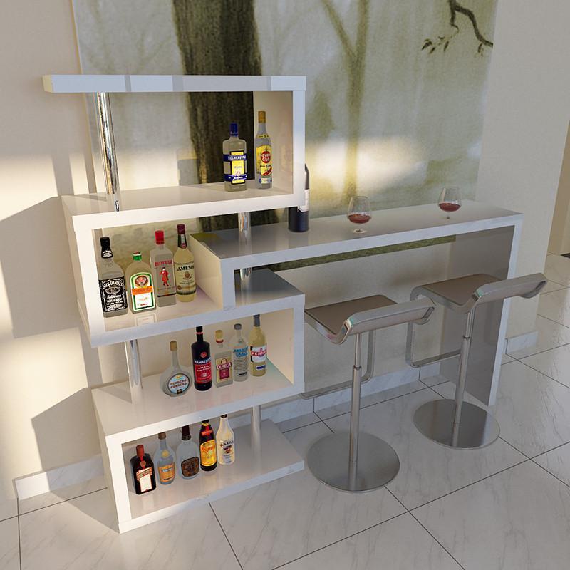 百丽安特 简约转角吧台现代酒吧吧台桌家用旋转客厅创意隔断d508 白色