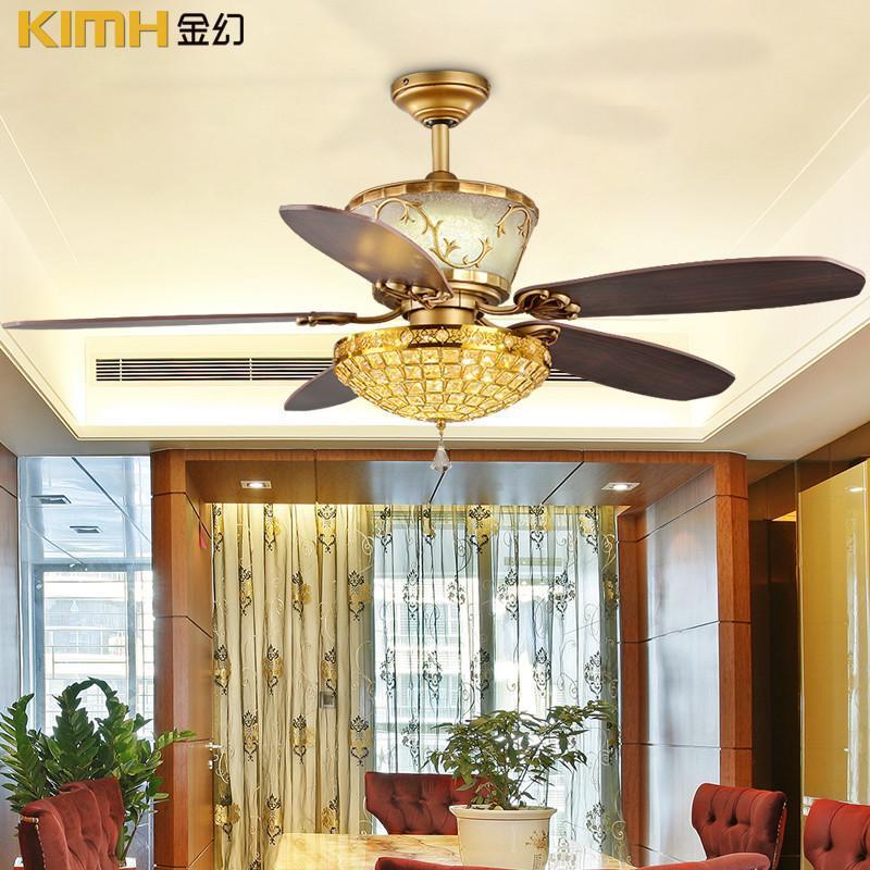 金幻水晶吊扇灯欧式豪华客厅灯风扇灯卧室灯欧式灯具