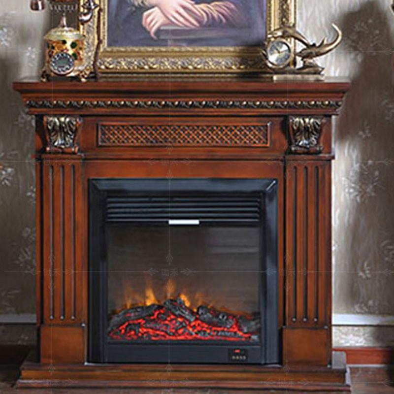 5米深色欧式壁炉装饰柜美式电视柜 实木壁炉架真火电壁炉芯va255ss