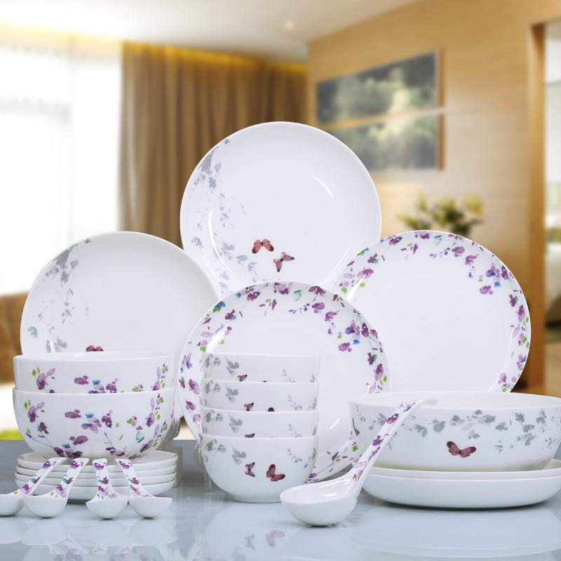 华光陶瓷 花香蝶舞骨瓷餐具套装 釉中彩碗盘子餐具瓷器 22头礼盒装图片