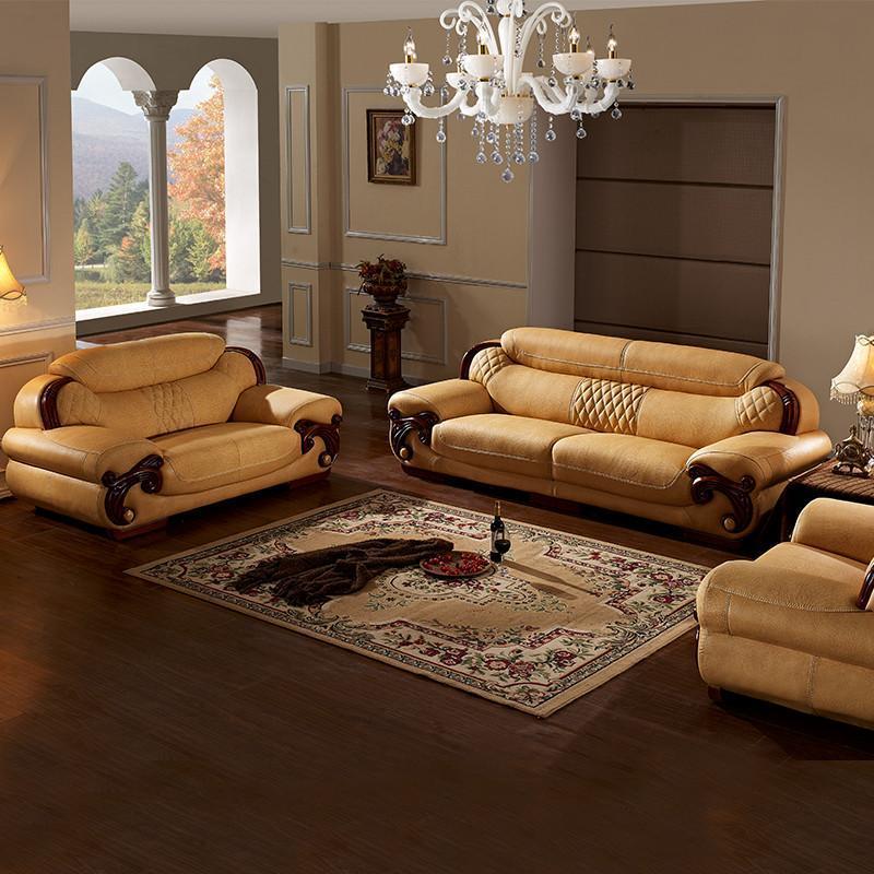 真皮沙发 欧式中厚牛皮沙发