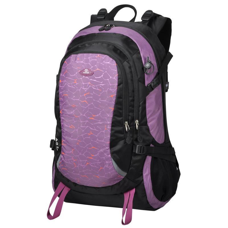 威豹双肩背包 登山包双肩男女旅行包户外运动背包大容量 黑色/粉紫a图片