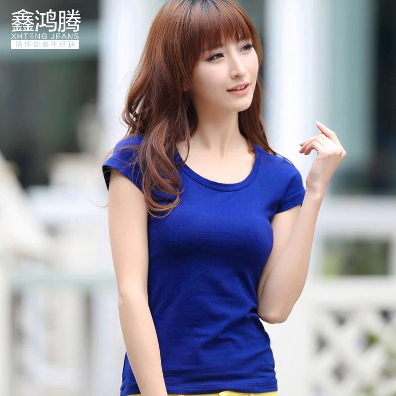 深蓝色t恤搭配图片女