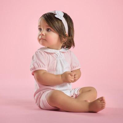 davebella戴维贝拉婴儿连体衣夏装可爱娃娃领宝宝短袖