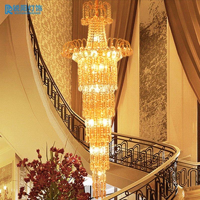 楼梯间水晶灯长吊灯豪华欧式水晶吊灯楼梯灯 直径55cm高度1米66 普泡