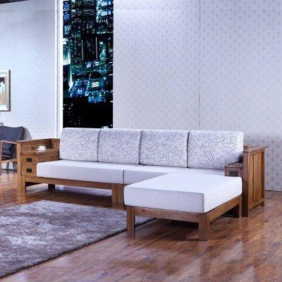 华谊家具100%纯橡木贵妃拐角沙发