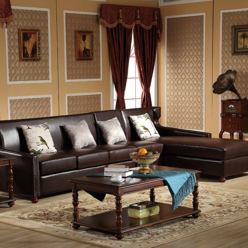 美式乡村皮沙发客厅沙发
