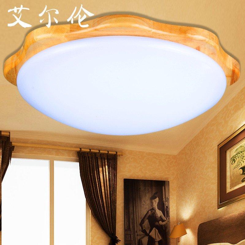 艾尔伦圆形中式吸顶灯儿童房间灯主卧室灯阳台过道走廊实木原木新中式
