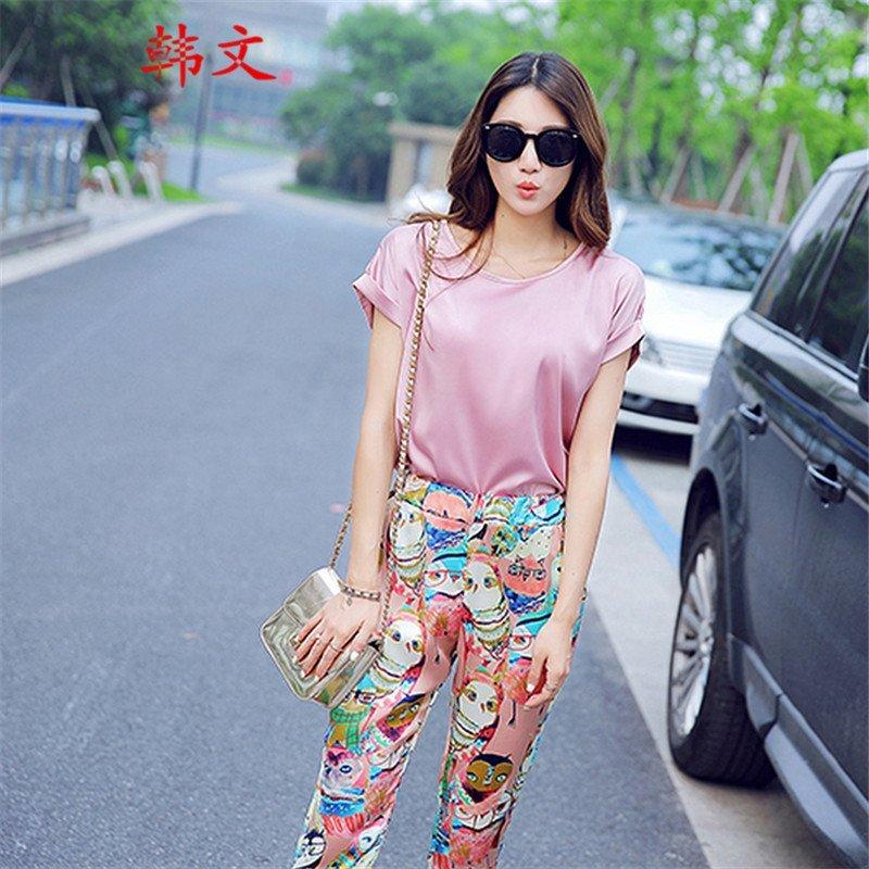 韩文2015夏季新款女装韩版t恤 七分裤名媛时尚套装两件套女 粉红色 l