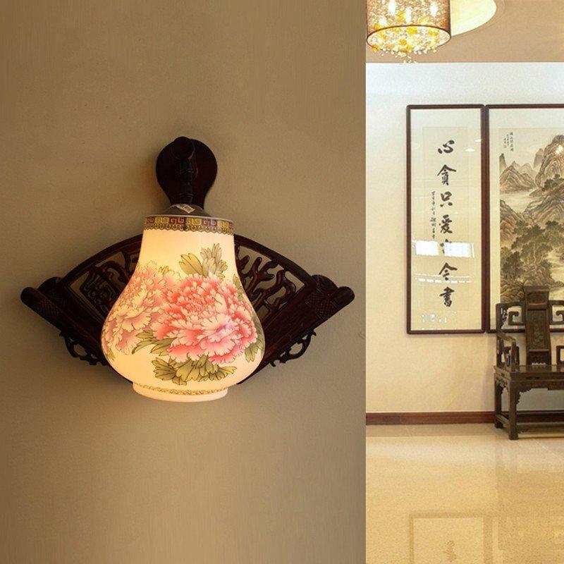 青联陶瓷仿古复古现代中式壁灯客厅卧室led床头灯具室外过道阳台田园