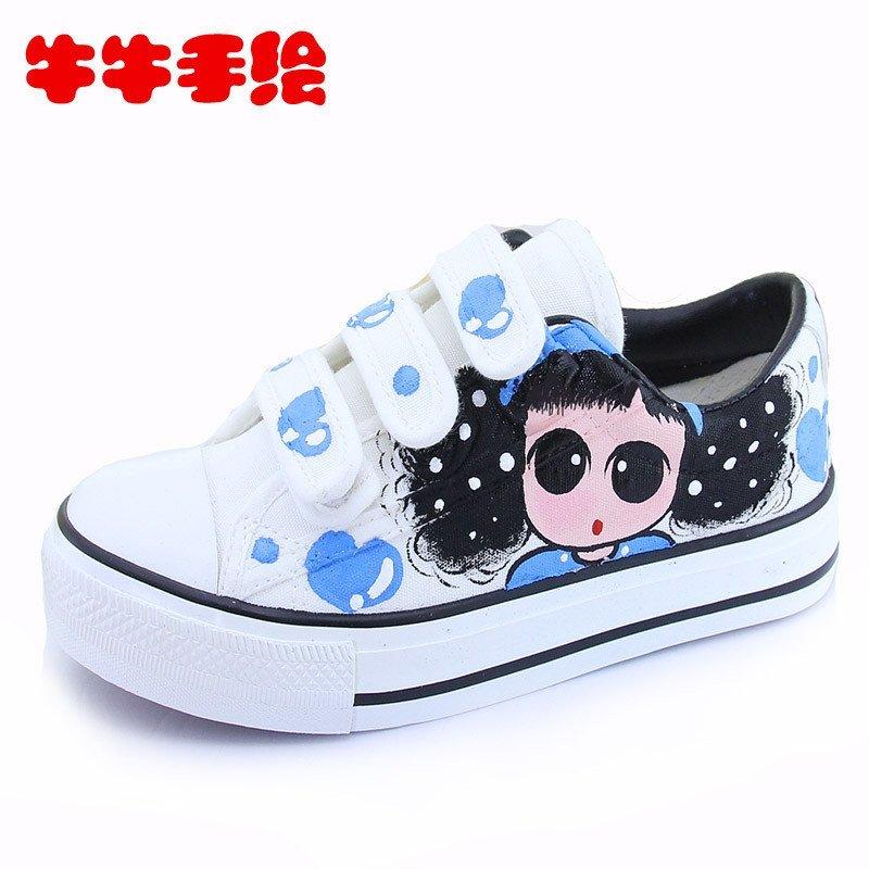卡通韩版手绘儿童小女童帆布鞋子