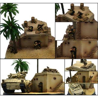 含4士兵及油桶 军事场景成品地台模型