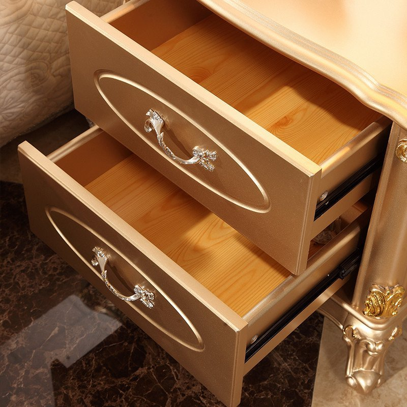 床头柜 法式欧式土豪金香槟金双抽屉床头柜
