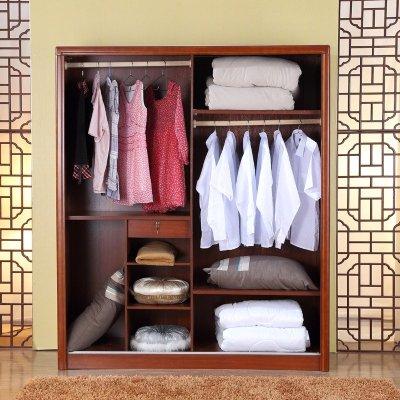 实木衣柜 简易移门实木大衣柜 推拉门 实木组合衣柜 板木结合免漆板