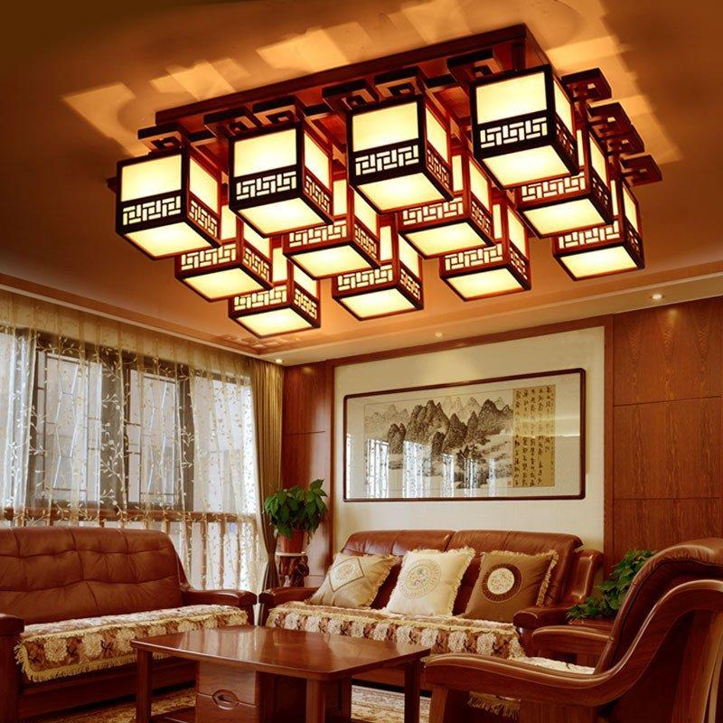 现代简约新中式多头客厅卧室实木灯具led吸顶灯1164高清实拍图图片